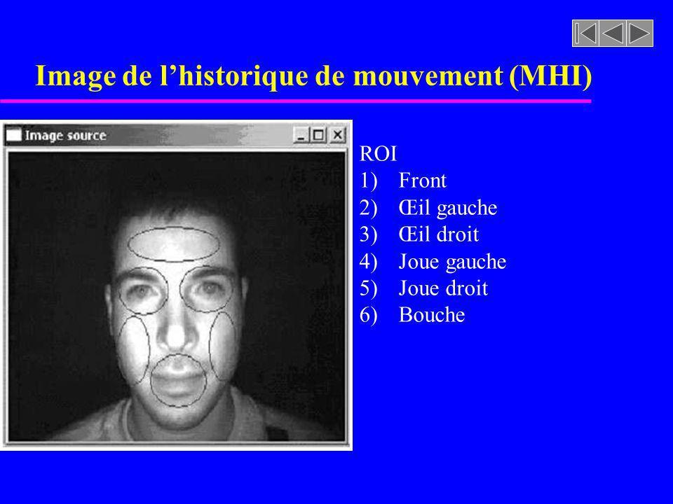 Image de lhistorique de mouvement (MHI) ROI 1) Front 2) Œil gauche 3) Œil droit 4) Joue gauche 5) Joue droit 6) Bouche