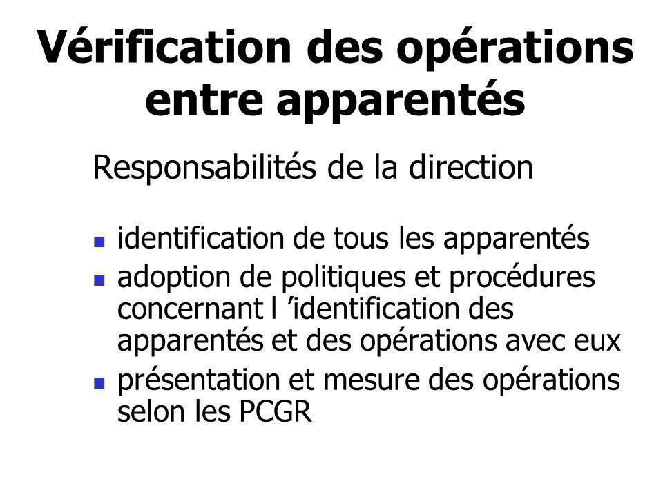Vérification des opérations entre apparentés Responsabilités de la direction identification de tous les apparentés adoption de politiques et procédure