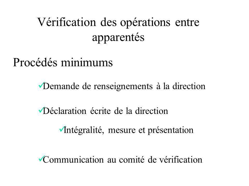 Procédés minimums Vérification des opérations entre apparentés Demande de renseignements à la direction Déclaration écrite de la direction Intégralité