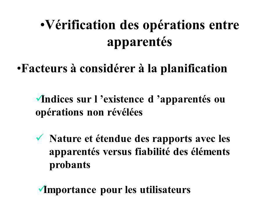 Facteurs à considérer à la planification Vérification des opérations entre apparentés Indices sur l existence d apparentés ou opérations non révélées