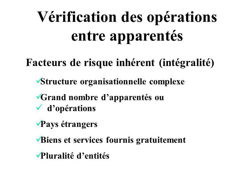 Facteurs de risque inhérent (intégralité) Vérification des opérations entre apparentés Structure organisationnelle complexe Grand nombre dapparentés o