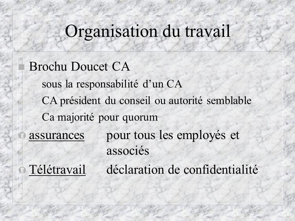 Organisation du travail n Brochu Doucet CA – sous la responsabilité dun CA – CA président du conseil ou autorité semblable – Ca majorité pour quorum Ý assurances pour tous les employés et associés Ý Télétravaildéclaration de confidentialité