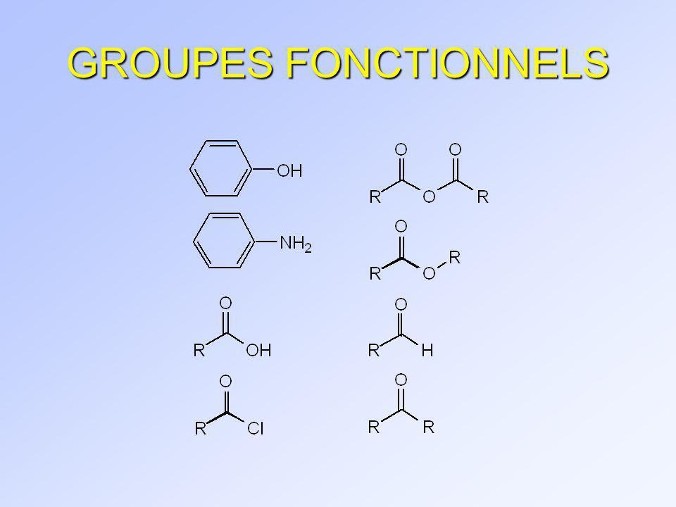 R O N H R RCH 2 XR 2 CHX R 3 CX RCH 2 OHR 2 CHOHR 3 C RNH 2 R O 2 R O N Halogénure d alkyle Alcool Amine Amide Tertiaire (3 C fixés) Secondaire (2 C fixés) R R 2 NH R R 3 N Primaire (1 C fixé) Aussi, C quaternaire, 4 C fixés : Ex.: (CH 3 ) 3 CCH 2 OH