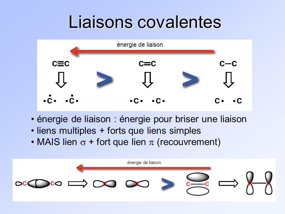 Liaisons covalentes énergie de liaison énergie de liaison longueur de liaison : distance moyenne entre deux atomes dune liaison + le lien est court, + il est fort Expliquez :
