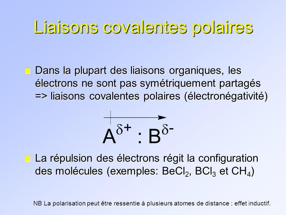 « Continuum » du type de liaison Type de liaison lien ioniquelien covalent polaire lien covalent non-polaire ( ) = différence délectronégativité KF NaCl O-H N-H C-H C-C (3,2) (2,1) (1,4) (0,9) (0,4) (0,0) ( ) > 2,0( ) 0,3 ou 0,4 -2,0( ) < 0,3 ou 0,4