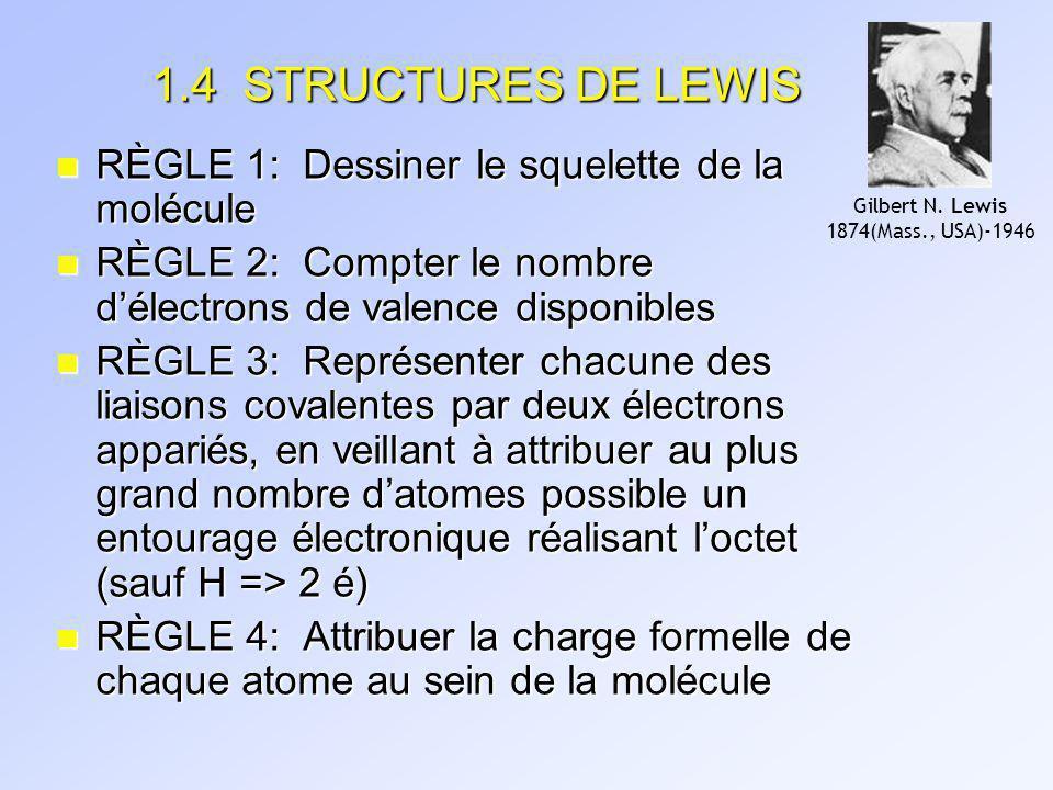 STRUCTURES DE LEWIS (suite) EXCEPTIONS: 1.Espèces contenant un nombre impair dé (e.g.