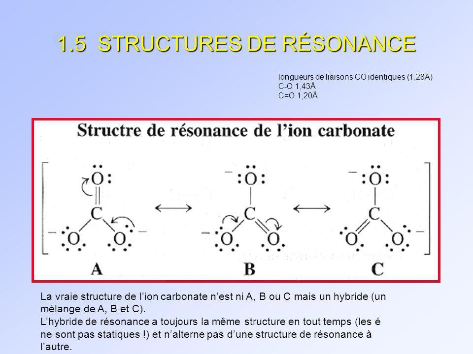 1.5 STRUCTURES DE RÉSONANCE La délocalisation délectrons est énergétiquement favorable.