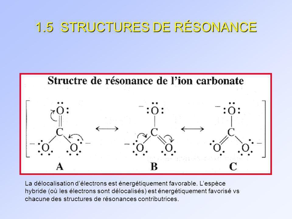 1.5 STRUCTURES DE RÉSONANCE Ne pas confondre avec (utilisé que si les atomes sont déplacés et que les espèces diffèrent dau moins une liaison )