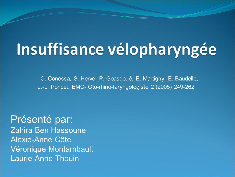 Linsuffisance vélopharyngée (IVF) Définition : Toute insuffisance du voile du palais à remplir sa fonction.