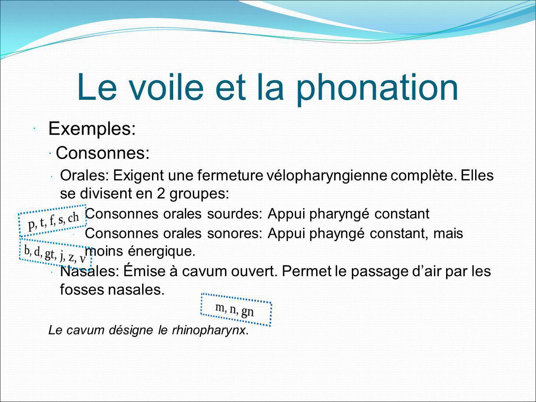 Le voile et la phonation Exemples: Consonnes: Orales: Exigent une fermeture vélopharyngienne complète. Elles se divisent en 2 groupes: Consonnes orale