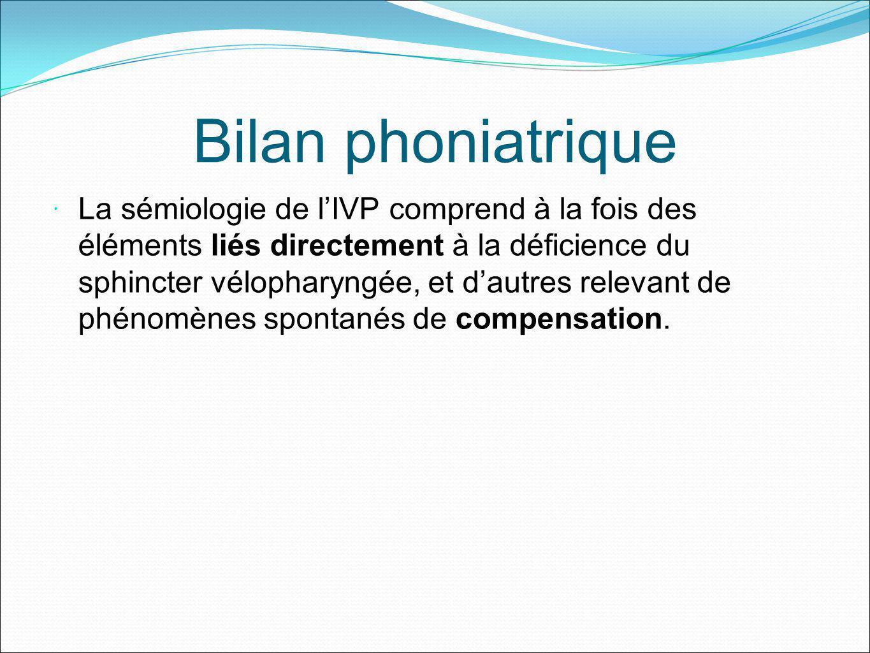 Bilan phoniatrique La sémiologie de lIVP comprend à la fois des éléments liés directement à la déficience du sphincter vélopharyngée, et dautres relev
