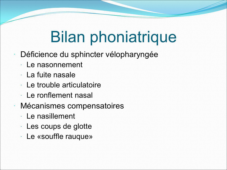 Bilan phoniatrique Déficience du sphincter vélopharyngée Le nasonnement La fuite nasale Le trouble articulatoire Le ronflement nasal Mécanismes compen