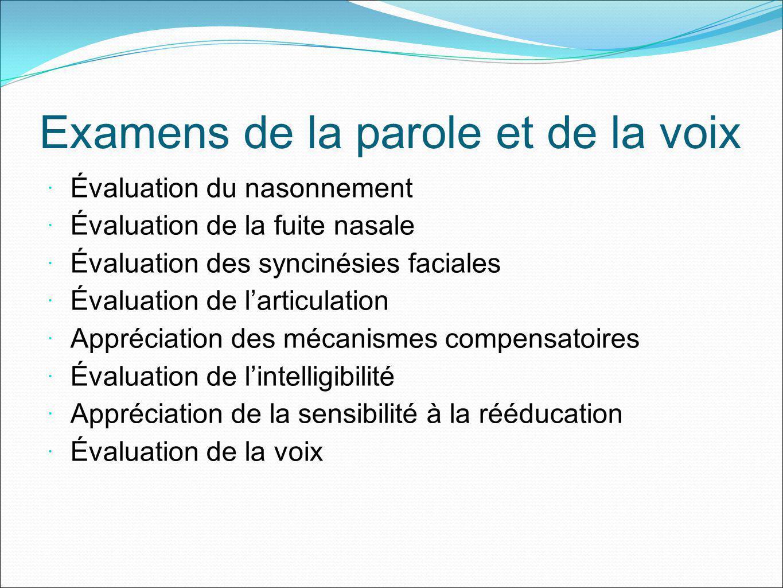 Examens de la parole et de la voix Évaluation du nasonnement Évaluation de la fuite nasale Évaluation des syncinésies faciales Évaluation de larticula