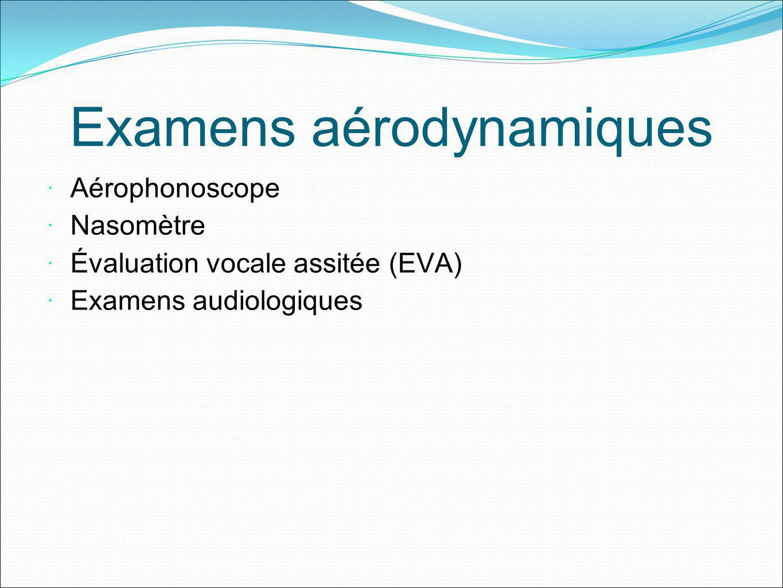 Examens aérodynamiques Aérophonoscope Nasomètre Évaluation vocale assitée (EVA) Examens audiologiques