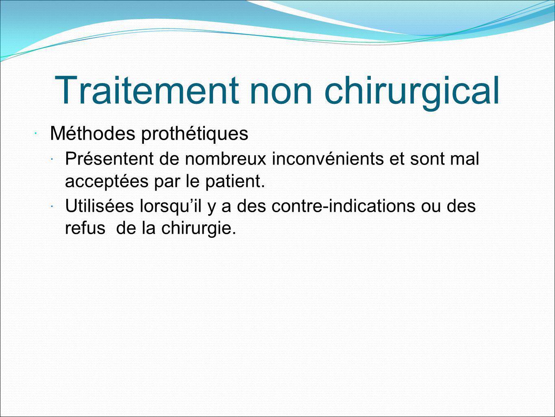 Traitement non chirurgical Méthodes prothétiques Présentent de nombreux inconvénients et sont mal acceptées par le patient. Utilisées lorsquil y a des