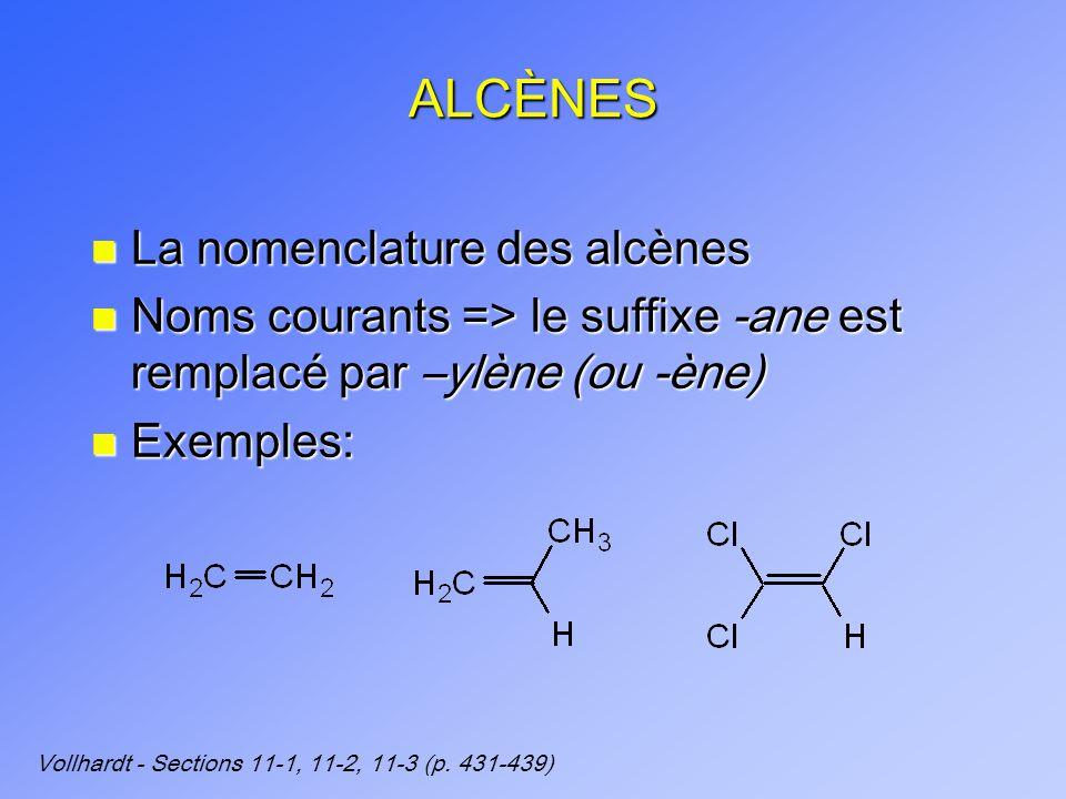 ALCÈNES n La nomenclature des alcènes n Noms courants => le suffixe -ane est remplacé par –ylène (ou -ène) n Exemples: Vollhardt - Sections 11-1, 11-2