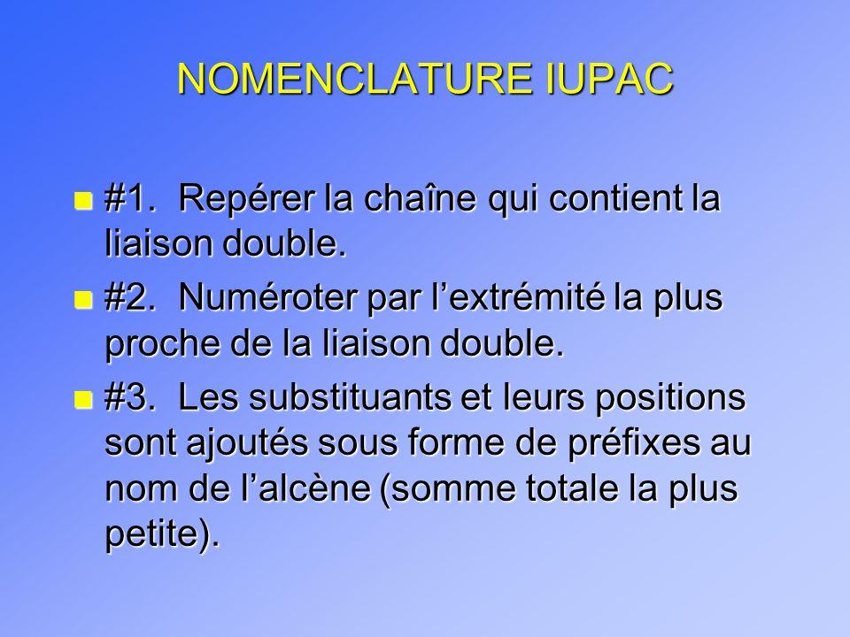 NOMENCLATURE IUPAC n #1. Repérer la chaîne qui contient la liaison double. n #2. Numéroter par lextrémité la plus proche de la liaison double. n #3. L