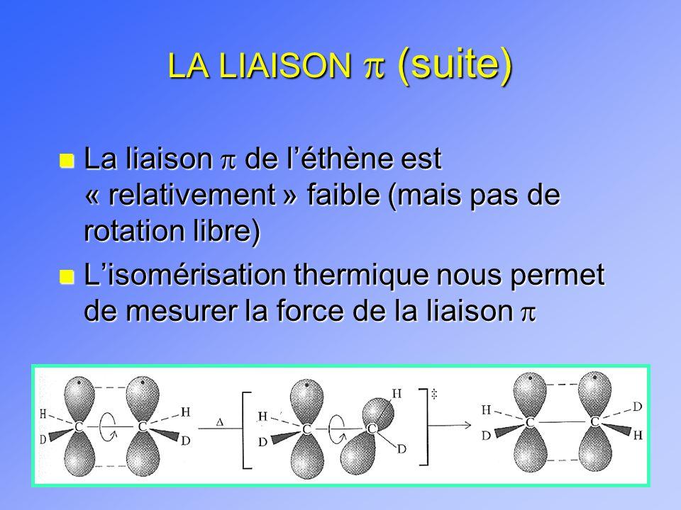 LA LIAISON (suite) La liaison de léthène est « relativement » faible (mais pas de rotation libre) La liaison de léthène est « relativement » faible (m
