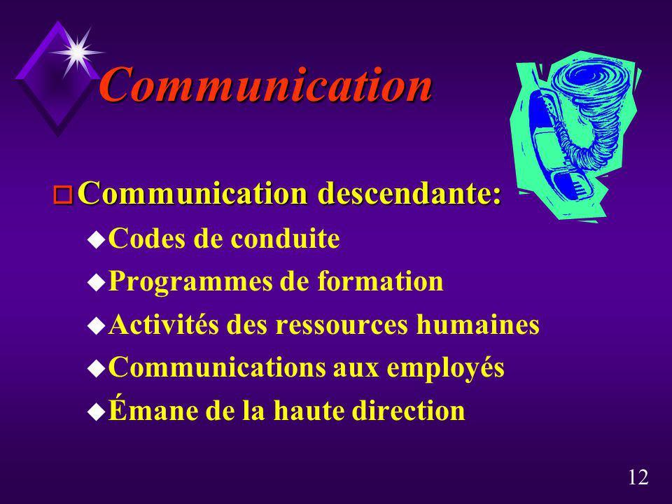 12 Communication o Communication descendante: u Codes de conduite u Programmes de formation u Activités des ressources humaines u Communications aux e