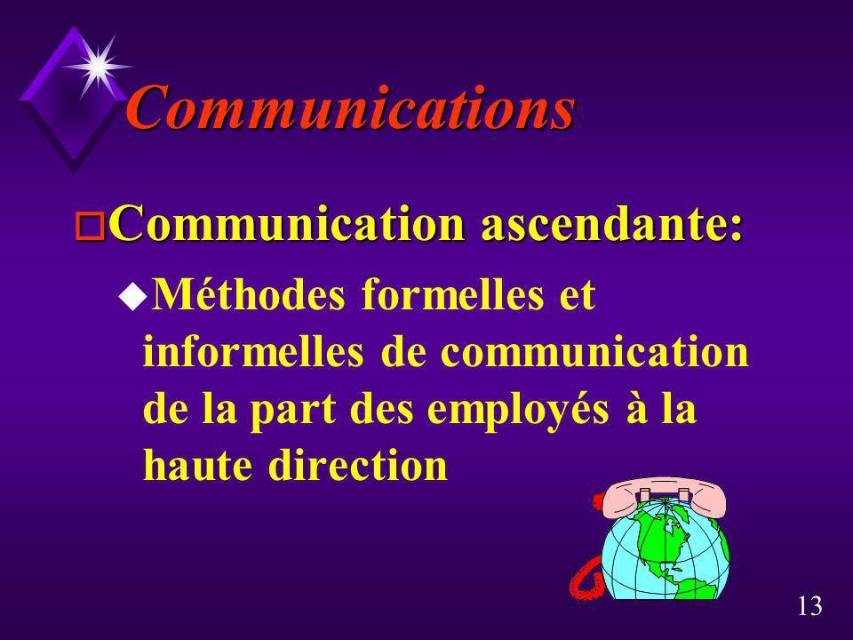 13 Communications o Communication ascendante: u Méthodes formelles et informelles de communication de la part des employés à la haute direction