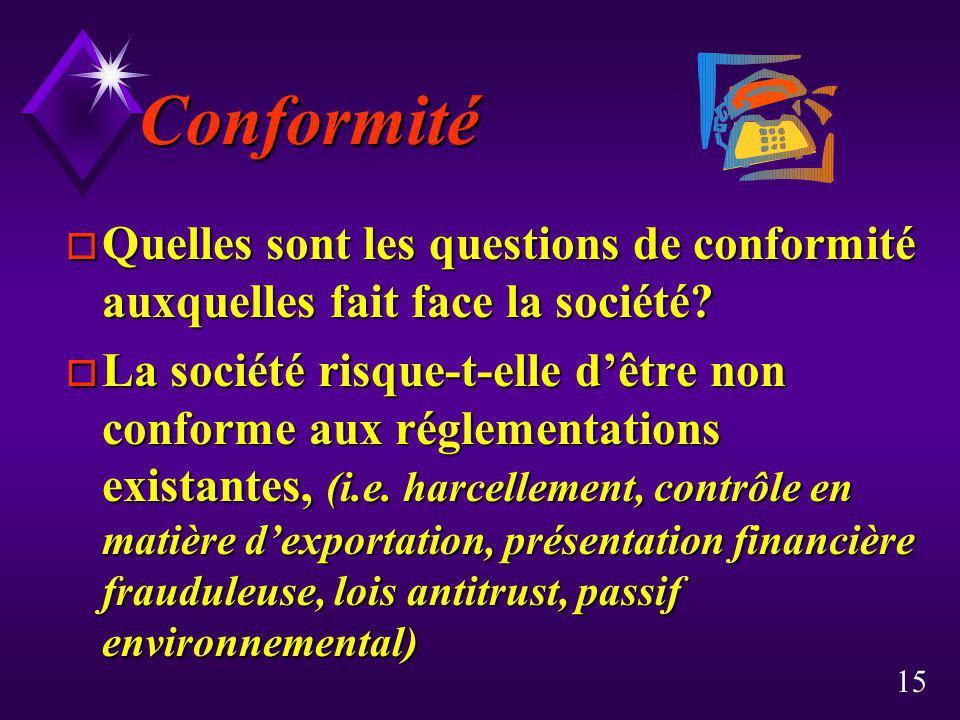 15 Conformité o Quelles sont les questions de conformité auxquelles fait face la société? o La société risque-t-elle dêtre non conforme aux réglementa