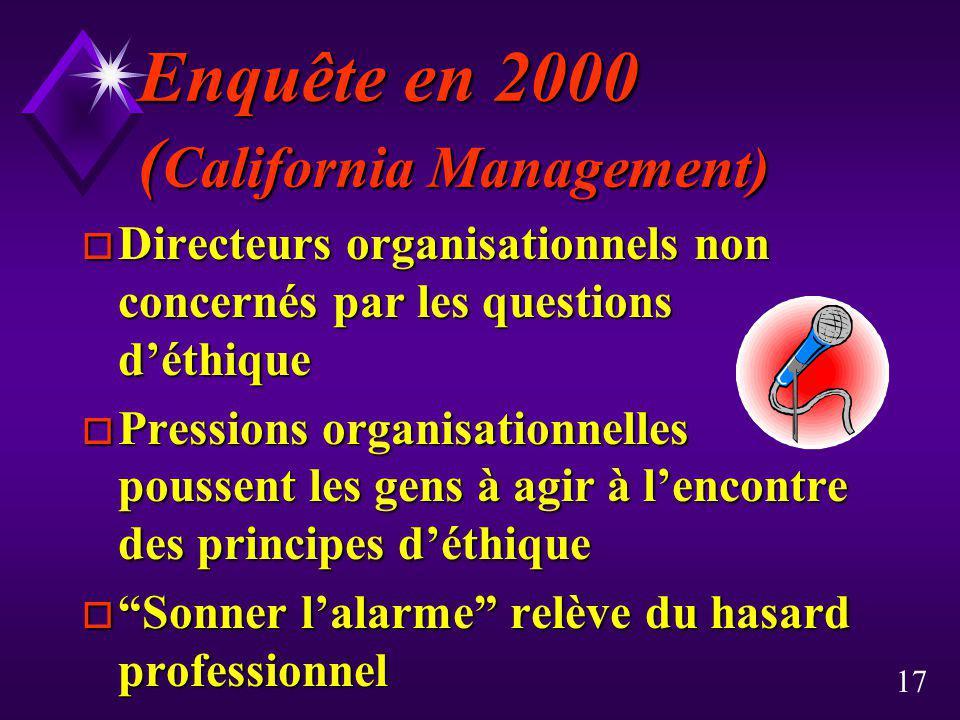 17 Enquête en 2000 ( California Management) o Directeurs organisationnels non concernés par les questions déthique o Pressions organisationnelles pous