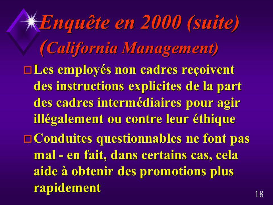 18 Enquête en 2000 (suite) ( California Management) o Les employés non cadres reçoivent des instructions explicites de la part des cadres intermédiair