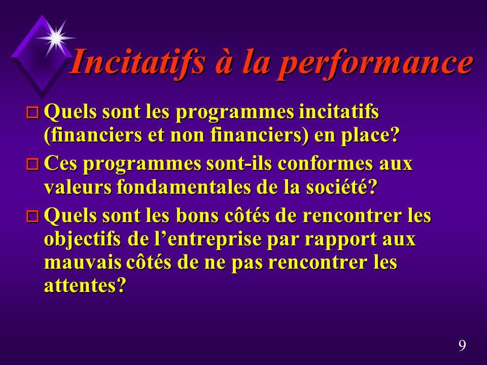 9 Incitatifs à la performance o Quels sont les programmes incitatifs (financiers et non financiers) en place? o Ces programmes sont-ils conformes aux