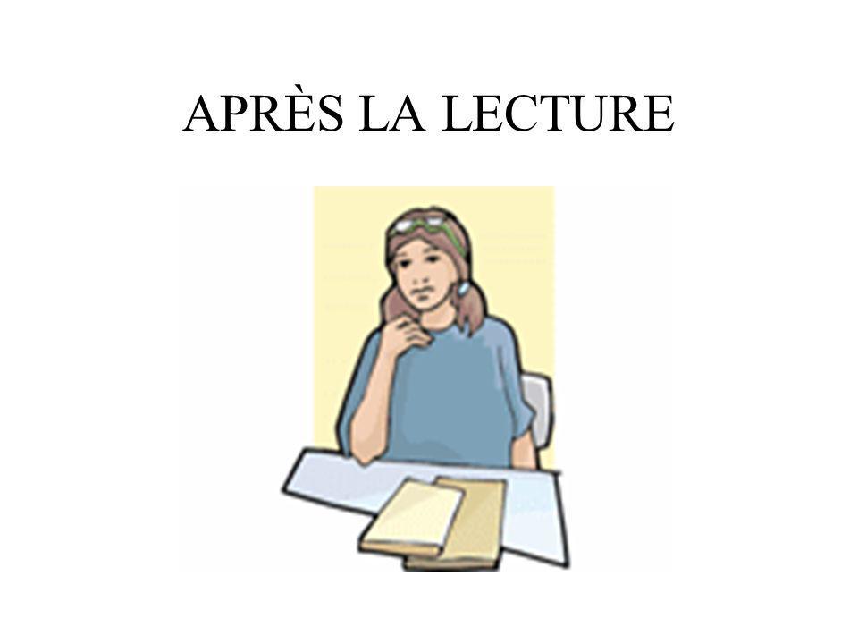 APRÈS LA LECTURE