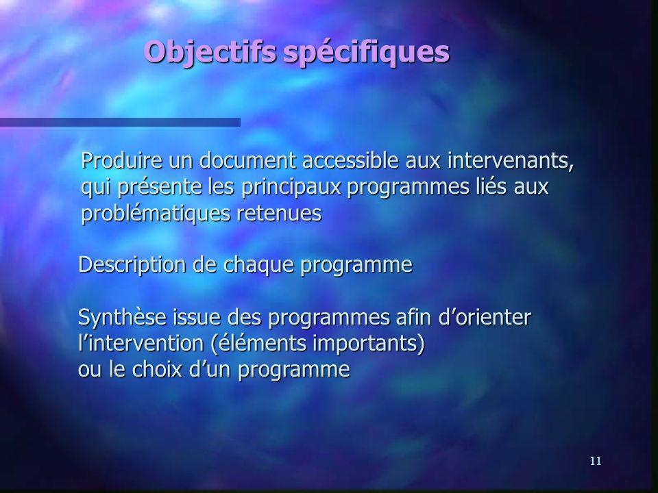 11 Objectifs spécifiques Produire un document accessible aux intervenants, qui présente les principaux programmes liés aux problématiques retenues Pro