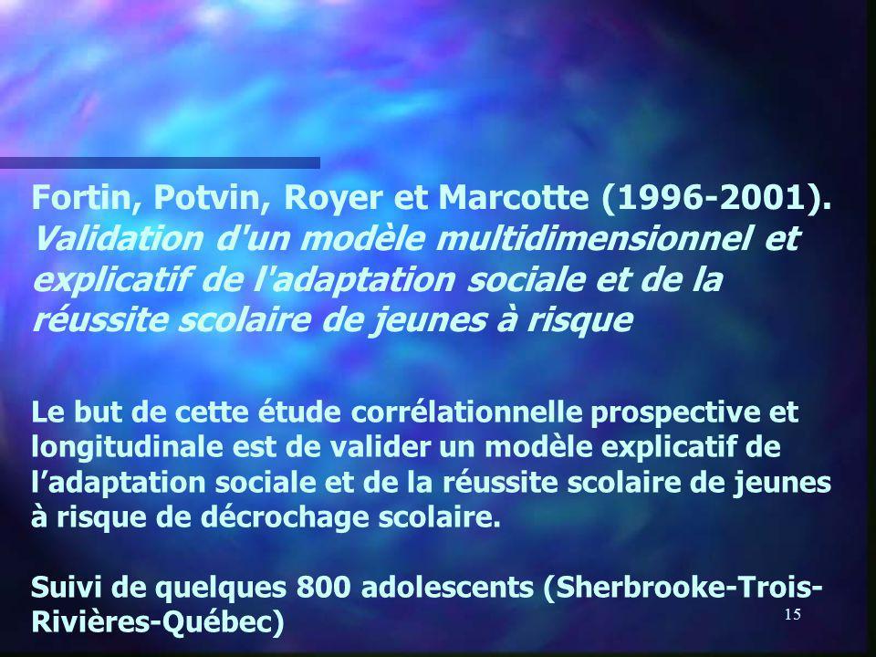 15 Fortin, Potvin, Royer et Marcotte (1996-2001). Validation d'un modèle multidimensionnel et explicatif de l'adaptation sociale et de la réussite sco