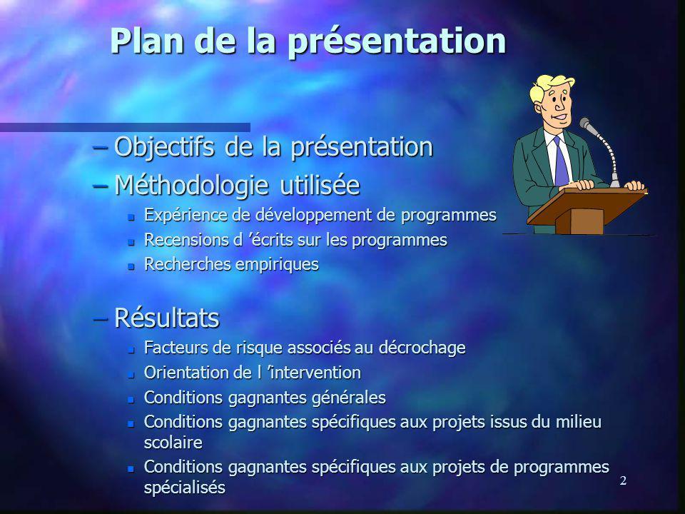 2 Plan de la présentation –Objectifs de la présentation –Méthodologie utilisée n Expérience de développement de programmes n Recensions d écrits sur l