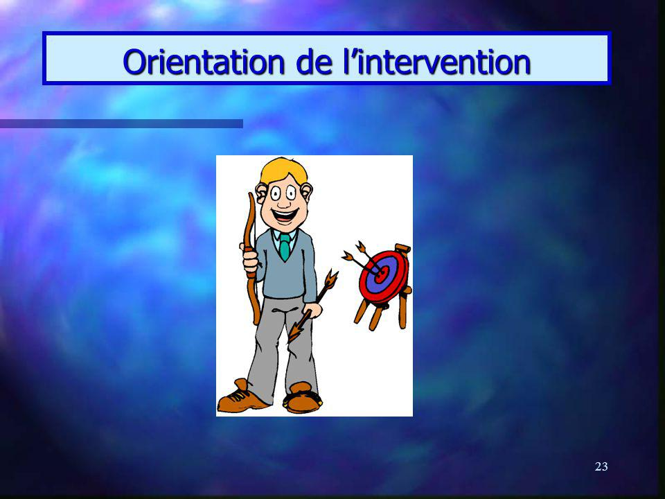 23 Orientation de lintervention
