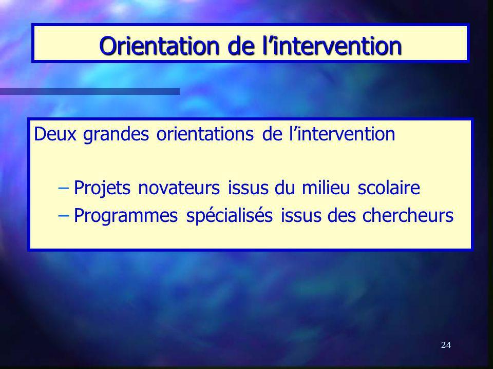 24 Orientation de lintervention Deux grandes orientations de lintervention – –Projets novateurs issus du milieu scolaire – –Programmes spécialisés iss
