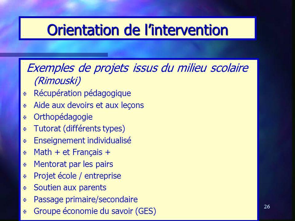 26 Orientation de lintervention Exemples de projets issus du milieu scolaire (Rimouski) X X Récupération pédagogique X X Aide aux devoirs et aux leçon