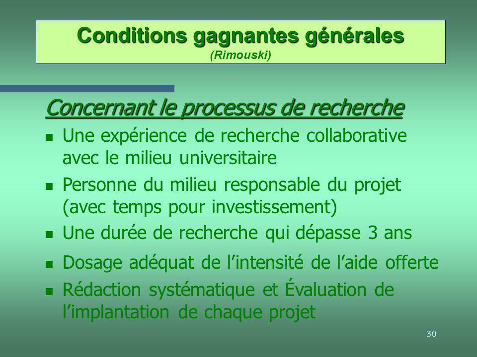 30 Conditions gagnantes générales Conditions gagnantes générales (Rimouski) Concernant le processus de recherche n Une expérience de recherche collabo