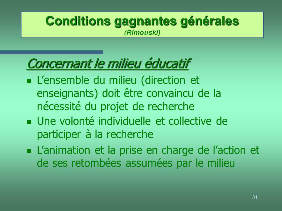 31 Conditions gagnantes générales Conditions gagnantes générales (Rimouski) Concernant le milieu éducatif n Lensemble du milieu (direction et enseigna
