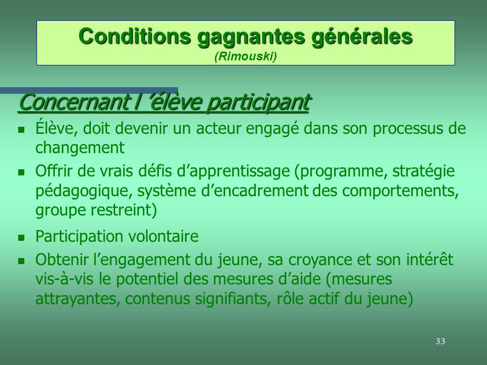33 Conditions gagnantes générales Conditions gagnantes générales (Rimouski) Concernant l élève participant n Élève, doit devenir un acteur engagé dans