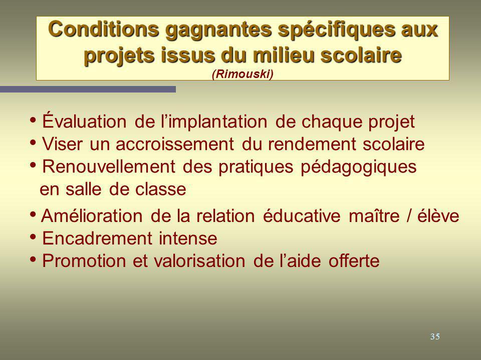 35 Conditions gagnantes spécifiques aux projets issus du milieu scolaire Conditions gagnantes spécifiques aux projets issus du milieu scolaire (Rimous