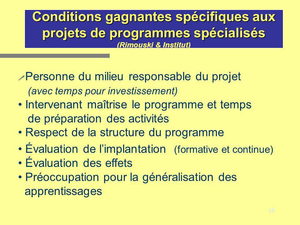 38 Conditions gagnantes spécifiques aux projets de programmes spécialisés Conditions gagnantes spécifiques aux projets de programmes spécialisés (Rimo