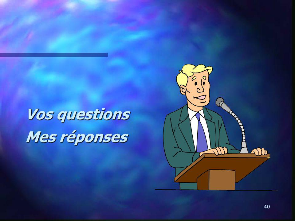 40 Vos questions Mes réponses