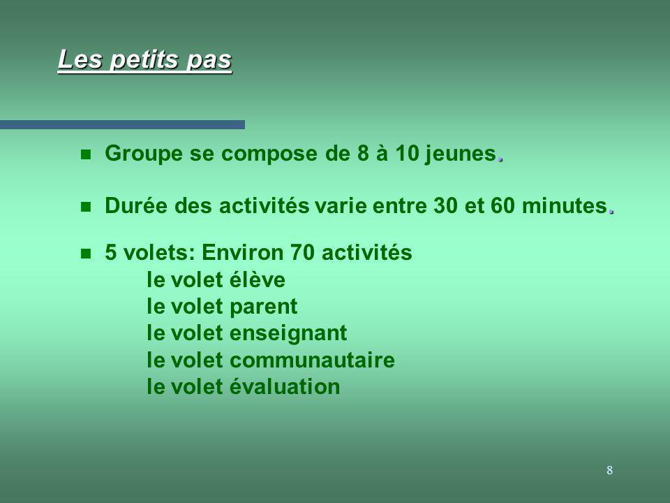 8 Les petits pas n 5 volets: Environ 70 activités le volet élève le volet parent le volet enseignant le volet communautaire le volet évaluation. n Dur