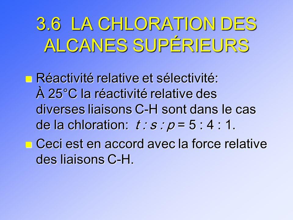 3.6 LA CHLORATION DES ALCANES SUPÉRIEURS n Réactivité relative et sélectivité: À 25°C la réactivité relative des diverses liaisons C-H sont dans le ca