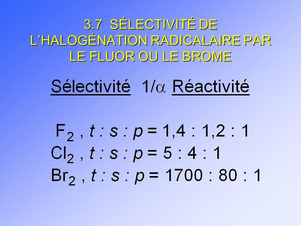 3.7 SÉLECTIVITÉ DE LHALOGÉNATION RADICALAIRE PAR LE FLUOR OU LE BROME