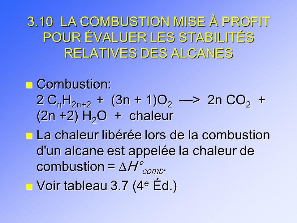 3.10 LA COMBUSTION MISE À PROFIT POUR ÉVALUER LES STABILITÉS RELATIVES DES ALCANES n Combustion: 2 C n H 2n+2 + (3n + 1)O 2 > 2n CO 2 + (2n +2) H 2 O
