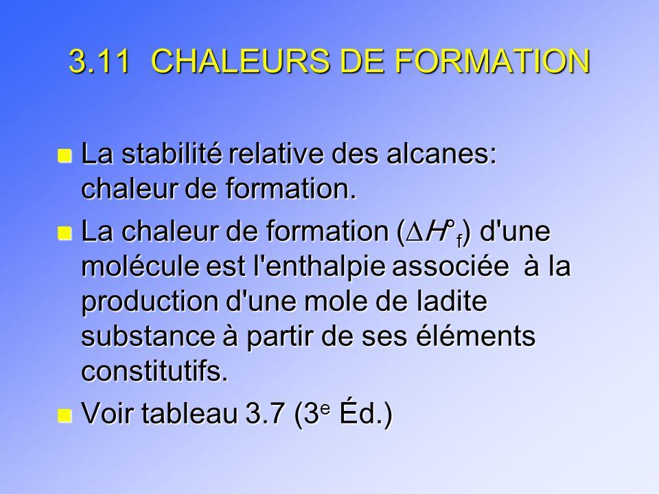 3.11 CHALEURS DE FORMATION n La stabilité relative des alcanes: chaleur de formation. n La chaleur de formation ( H° f ) d'une molécule est l'enthalpi