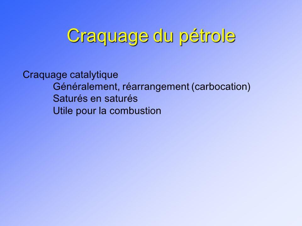 Craquage du pétrole Craquage catalytique Généralement, réarrangement (carbocation) Saturés en saturés Utile pour la combustion