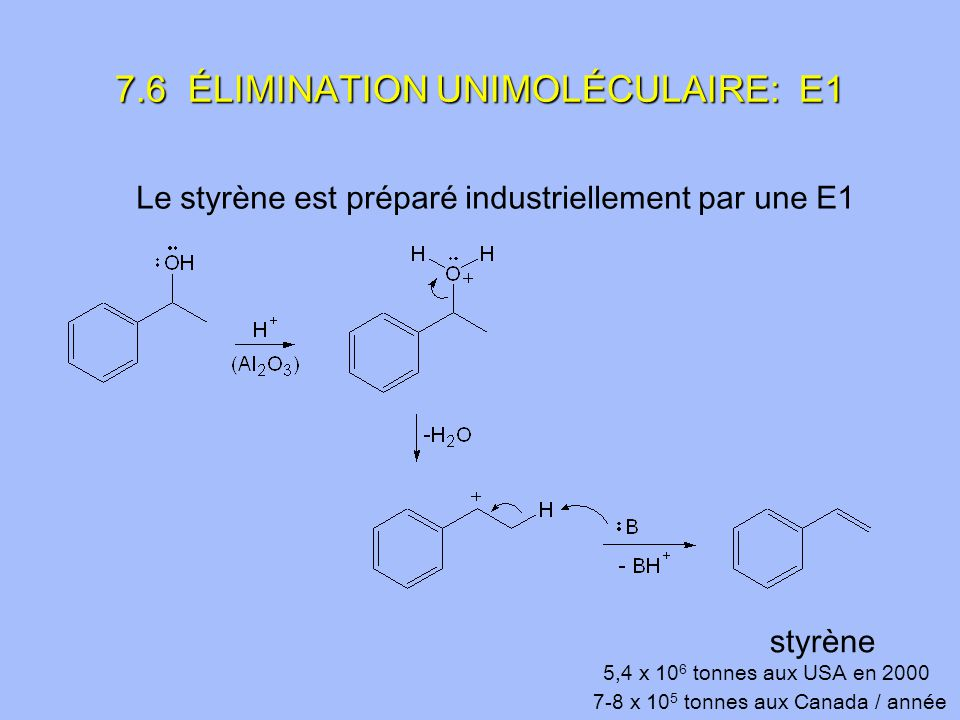 Le styrène est préparé industriellement par une E1 styrène 5,4 x 10 6 tonnes aux USA en 2000 7-8 x 10 5 tonnes aux Canada / année