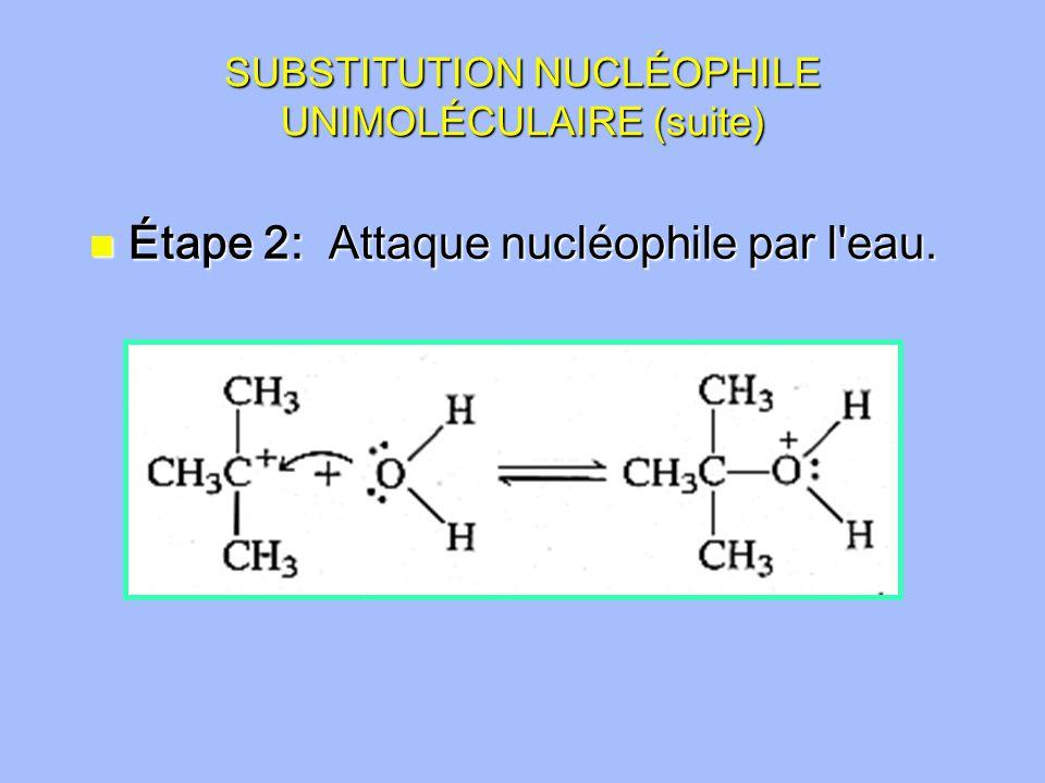 SUBSTITUTION NUCLÉOPHILE UNIMOLÉCULAIRE (suite) n Étape 2: Attaque nucléophile par l eau.
