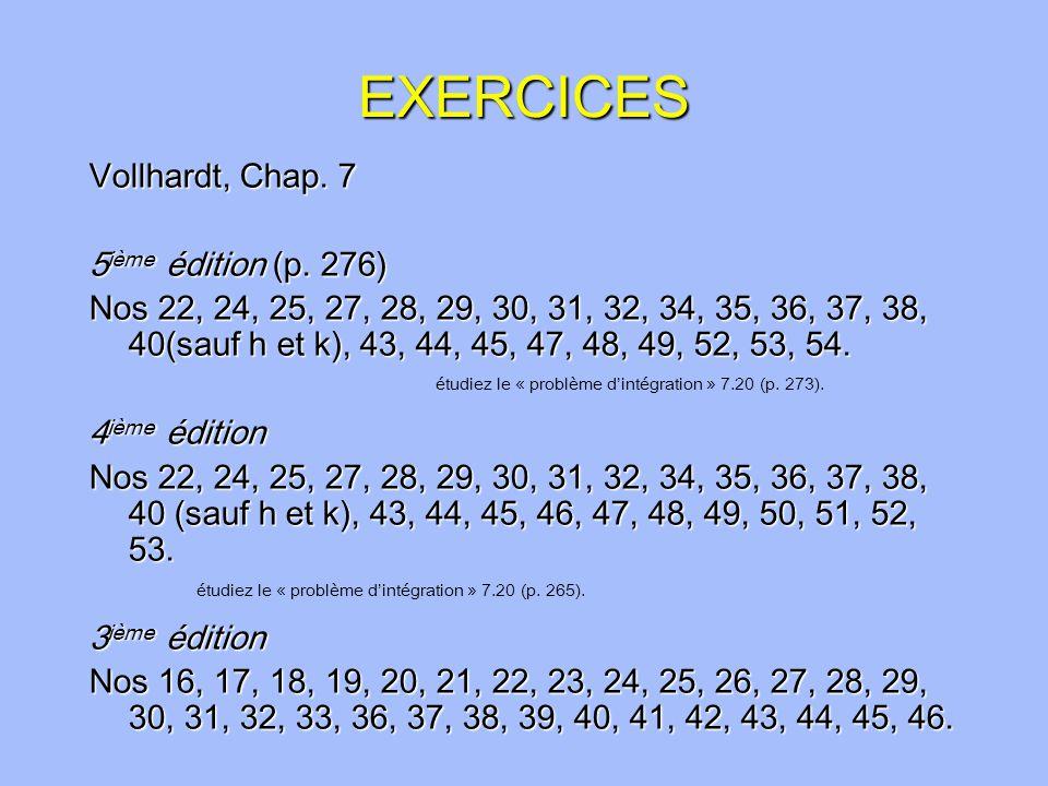EXERCICES Vollhardt, Chap.7 5 ième édition (p.